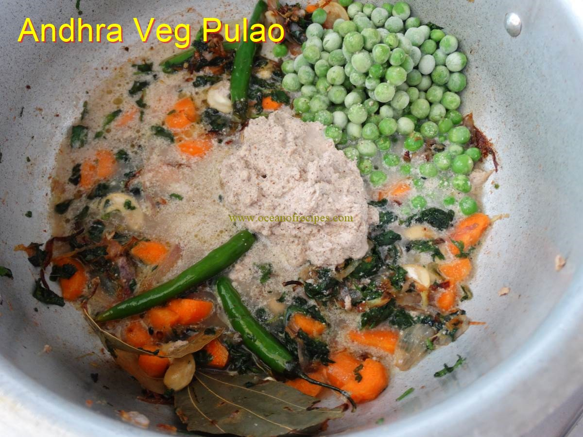 Andhra style veg pulao add the drained rice salt and water to cook forumfinder Choice Image