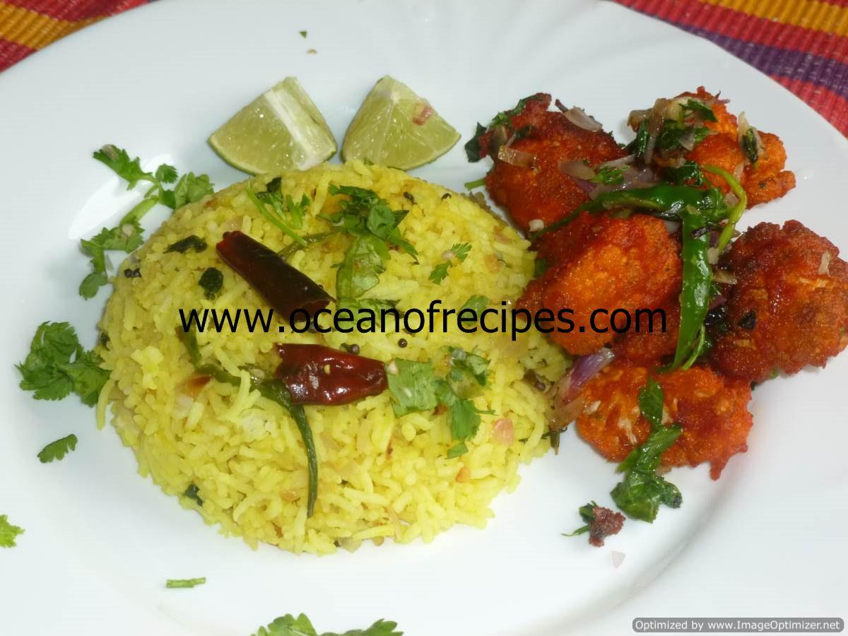 Nimmakaya pulihora (lemon rice)